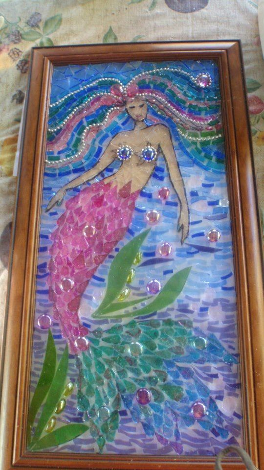 mosaic mermaid art on pinterest | Mary Foley mermaid. The finished piece is lovely. | Mosaic Glass Art