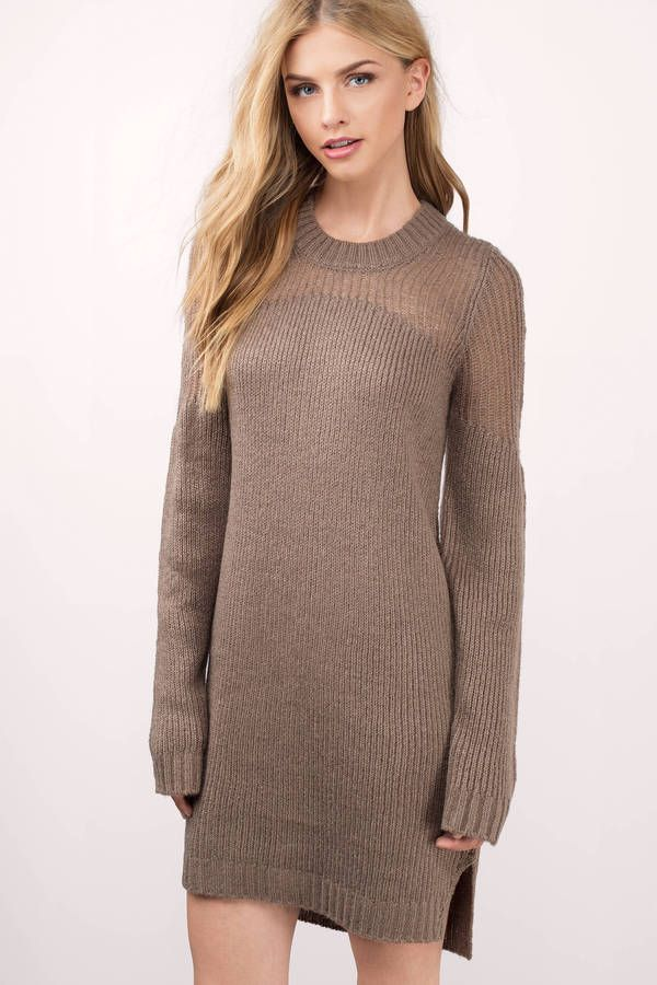 ac1f5199c87 Adorable taupe sweater dress with a mixed stitch design and side slits.  Want to be cozy