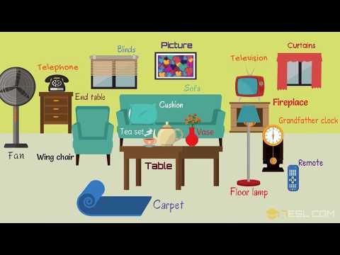 In the Living Room Vocabulary | Names of Living Room Objects ...