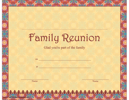 a family reunion certificate with a festive border and interlocking paper doll figures and a grateful