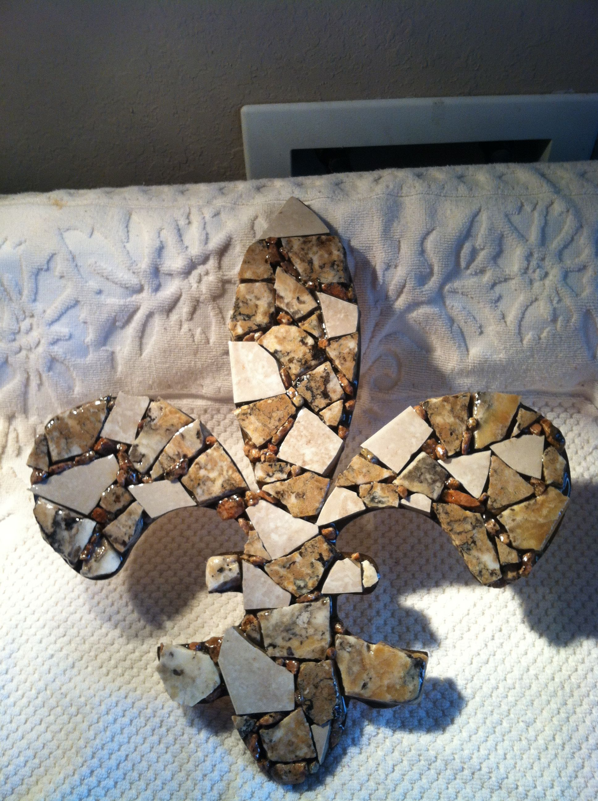 Large Fleur de Lis in Travertine/Granite/Ceramic Tile. Signed, one-of-a-kind...$35, pluys shipping