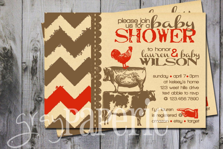 Vintage farm animals chevron baby shower invitation by GrayPaperie ...
