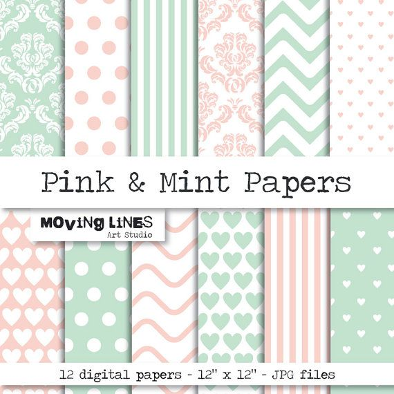 Digital Paper, Wallpaper, Gift Wrap, Pink and Mint, Damask, Striped, Dotted, Chevron Background, Large Highe Res Print 12 craft papers
