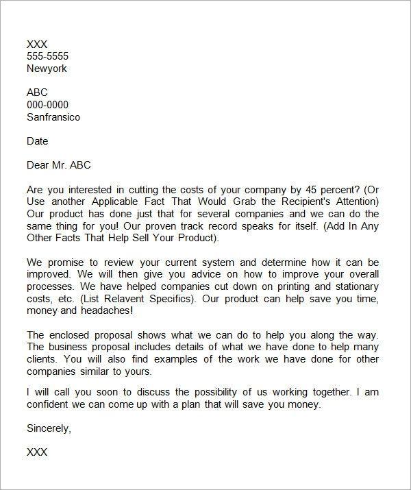 Business Proposal Letter Template Unique 38 Sample