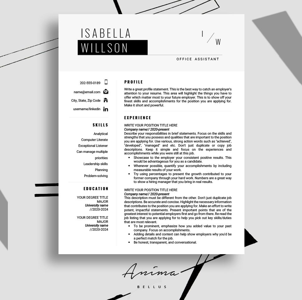 Resume template, Resume, Modern, Resume PDF, Resume format