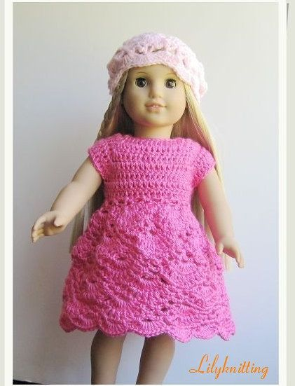 Pattern Crocheted Doll Clothes Dress For American Girl Gotz Or