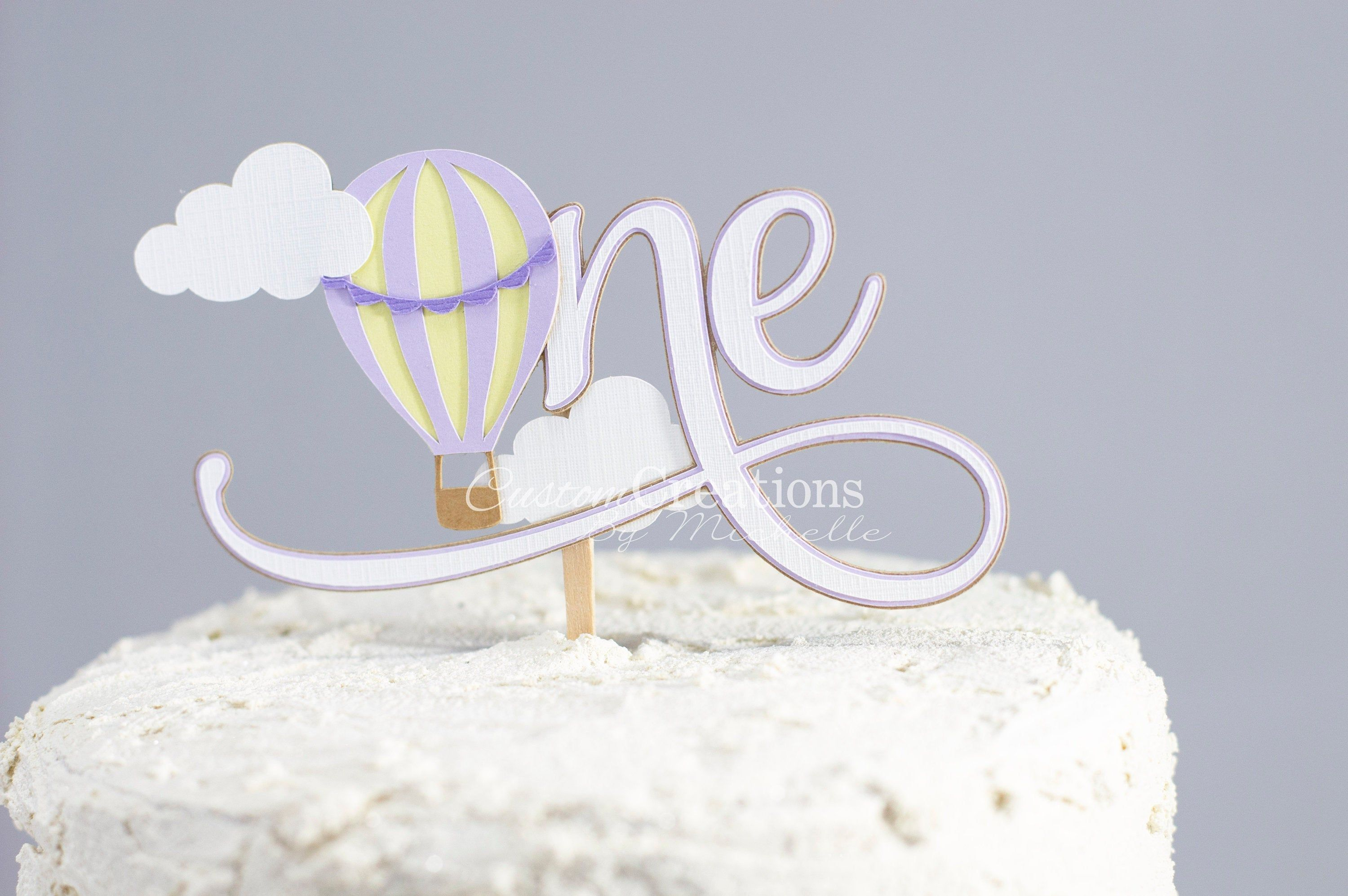 Purple Hot Air Balloon One Cake Topper Up up & Away 1st | Etsy