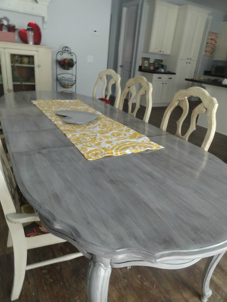 Grey And White Chalk Paint Kitchen Table