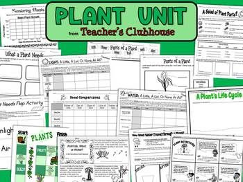 The Plant Unit is an entire unit filled with plant experiments, writing activities, minibooks, and data collection. (Includes 14 files below)1)Plant Parts: Students color and label the parts of a plant. Good for a quick assessment! 2)Draw the Parts of a Plant: Students draw a plant and label its parts (stem, fruit, leaves, roots, flower, seed).  3)Plant Needs Flap Activity: Students draw, label, and use construction paper flaps to learn about the 4 basic needs of a plant. (2 pages) 4)What A…