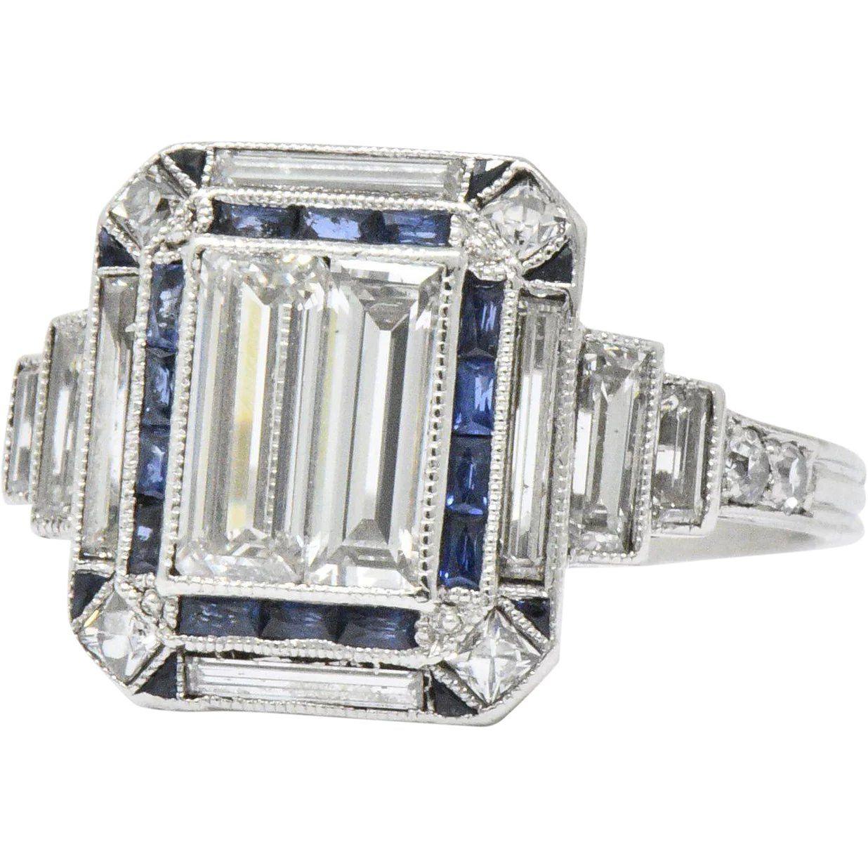 Photo of Unique Art Deco 2.90 CTW Diamond Sapphire Platinum Engagement Ring