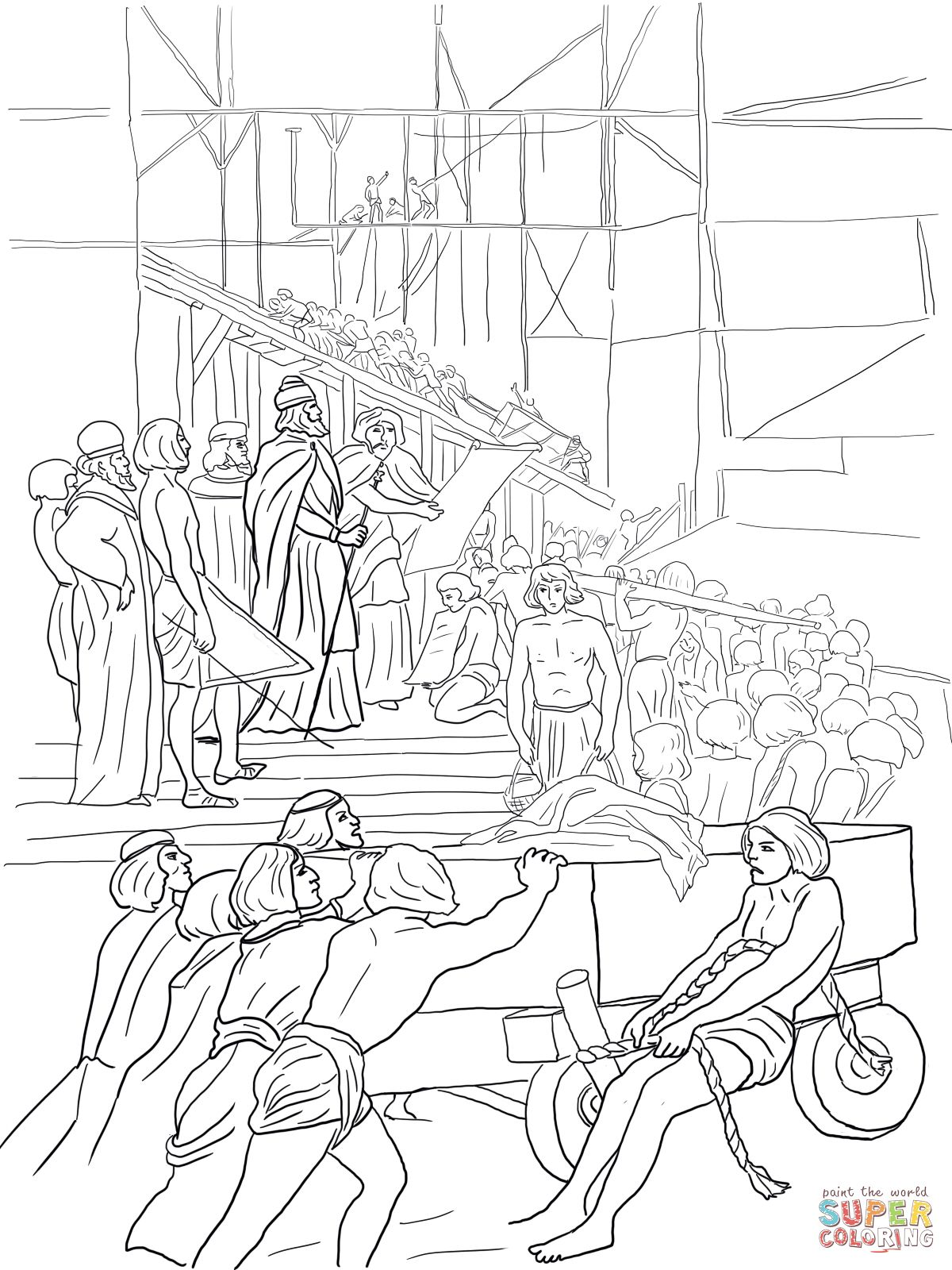 King Solomon Builds The Temple Coloring Page Supercoloring Com