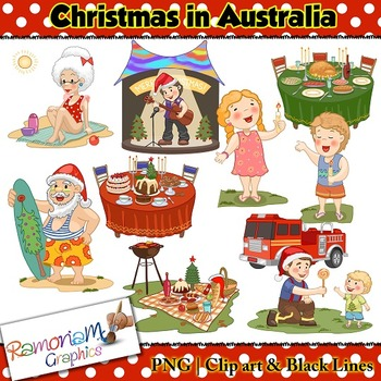 Christmas in Australia Clip art - a total of 27 images in color, black outline and black and white. Each image is PNG and 300dp Commercial use ok.