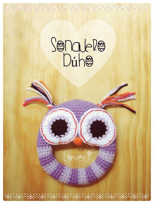 ♥ Sonajero Búho by #Loveri ♥ #Crochet #Sonajero #Bebé #Búho #Lechuza #Artesanal #HechoaMano #CrochetToy