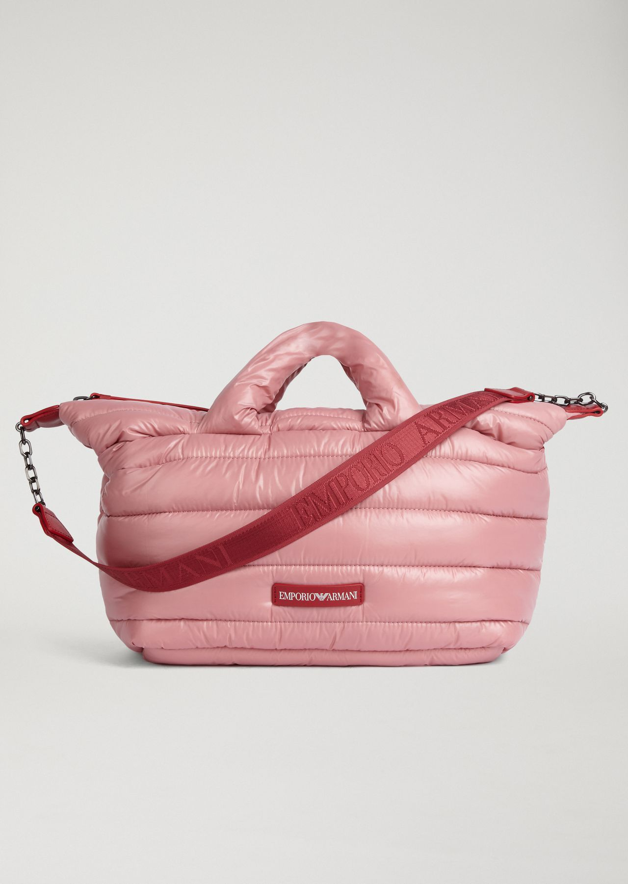 EMPORIO ARMANI Quilted padded bag with shoulder strap and Emporio Armani  logo Top Handle Woman f d63cb3cfbe873