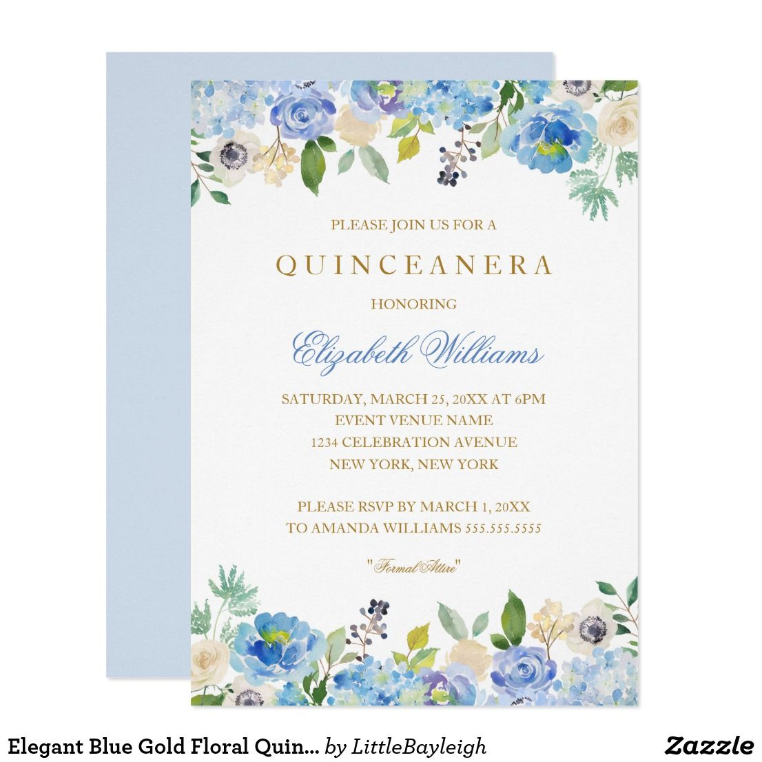 Elegant blue gold floral quinceanera invitation florais e elegant blue gold floral quinceanera invitation more pretty floral quinceanera invitations in the little bayleigh store stopboris Choice Image