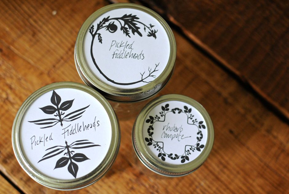 Taproot Magazine, Canning Jar Lid Labels by Jenny Lee Fowler