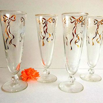 Vintage FOUR RARE Gold Bow & Rose swag etched Pilsner glasses, 1950's set of beer or tall iced tea drinking glasses Mid Century stem