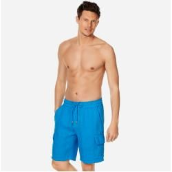 Photo of Herren Ready to Wear – Solid Leinen-Bermudashorts mit Cargotaschen für Herren – Bermuda – Baie – Bla