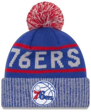 the best attitude 7dbca de594 ... ireland new era philadelphia 76ers court force pom knit hat blue  adjustable 536a2 f7da1 ...
