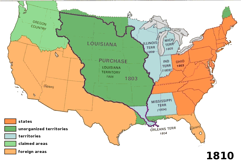 In The US Purchased The Louisiana Territory Which Was - Us 1803 map