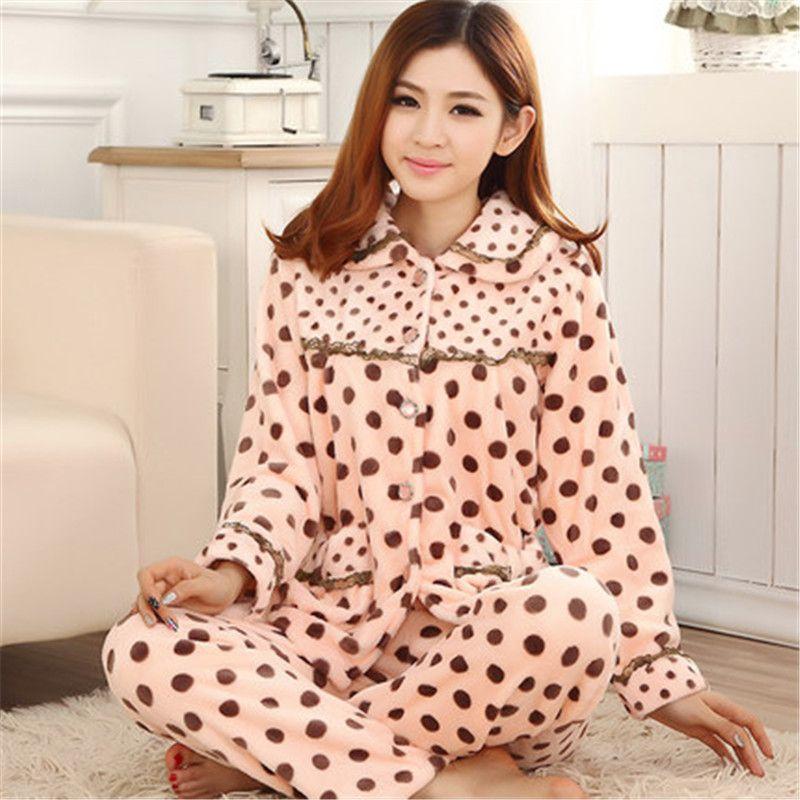 33afdf3784 Love New Women Cute Fluffy Coral Velvet long sleeve pajama sets warm winter  sleepwear fleece print