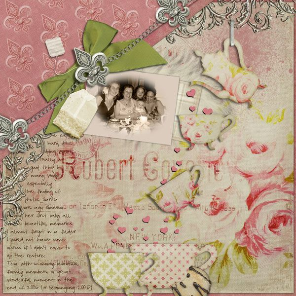 Digital Scrapbook Page Layout by Cynthia using the Cottage Romance and Cottage Tea Kits from Etc by Danyale at The Lilypad #etcbydanyale #thelilypad #digitalscrapbooking #memorykeeping  #shabby #vintage #feminine #cottageroses