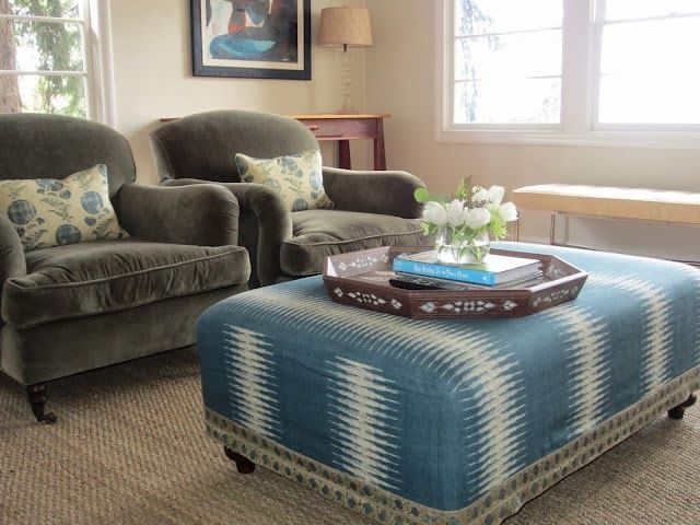 Awe Inspiring This Ottoman Is Upholstered In Peter Dunhams Ikat Fabric Andrewgaddart Wooden Chair Designs For Living Room Andrewgaddartcom
