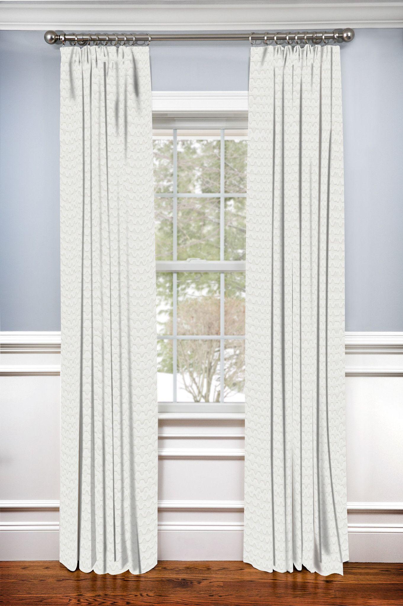Back tab curtains on traverse rod - Hidden Back Tab Drapery Panel Dartford Ivory Matelasse