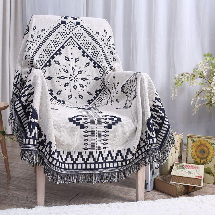 Blue White Plaid Blanket on Bed/Sofa/Plane/Travel Winter Blanket ...