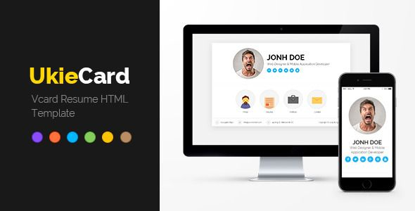 ukieCard - Personal Vcard \ Resume HTML Template (Virtual Business - html resume