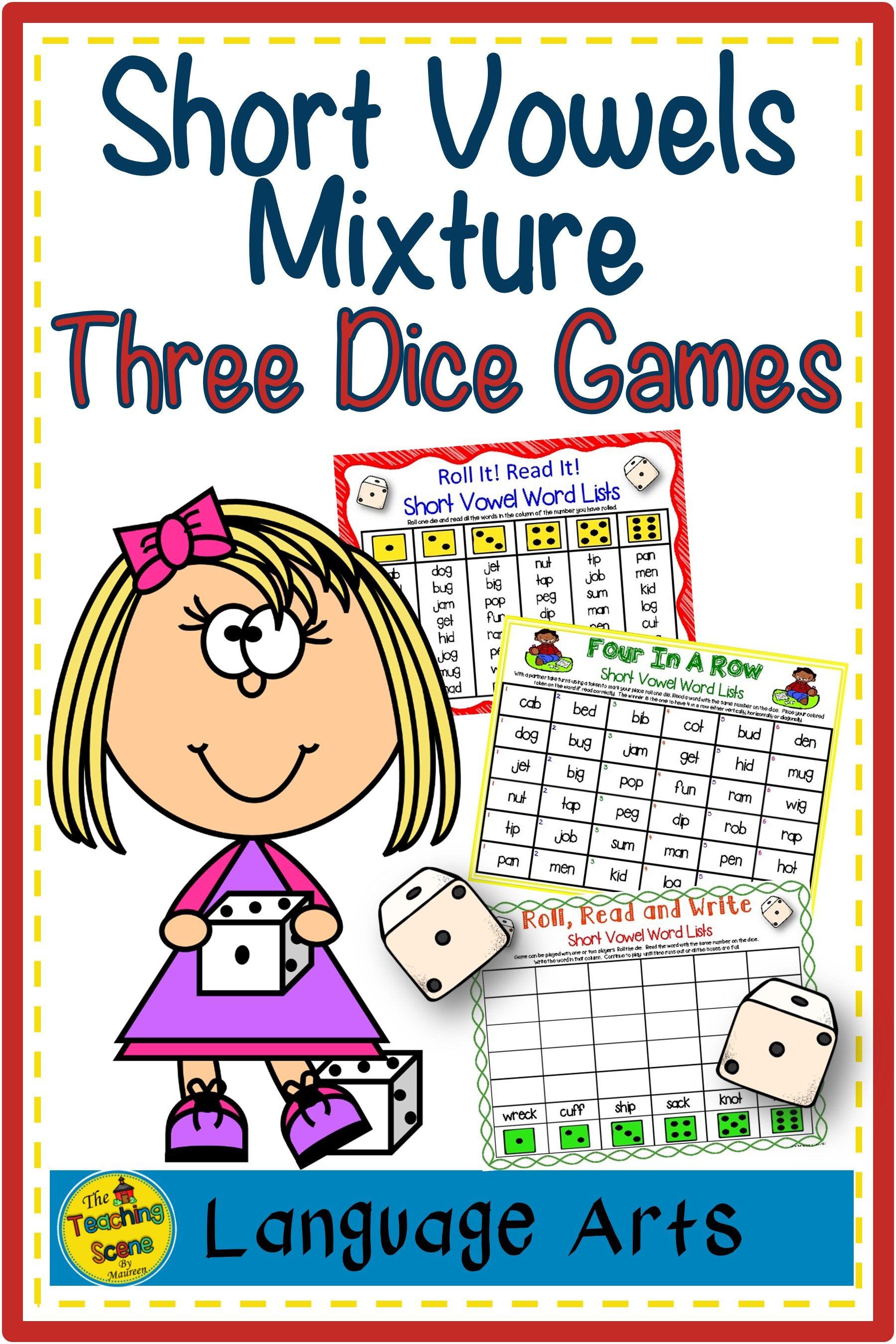 Short Vowels Mixture Three Dice Games Phonics Phonics Short Vowels Short Vowels [ 2700 x 1800 Pixel ]