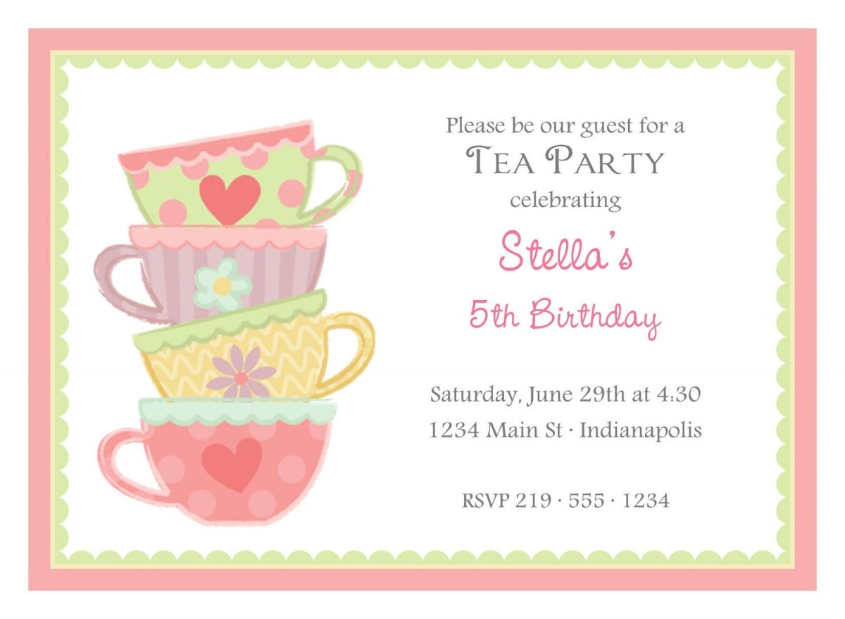 Free Afternoon Tea Party Invitation Template  Invitations Templates