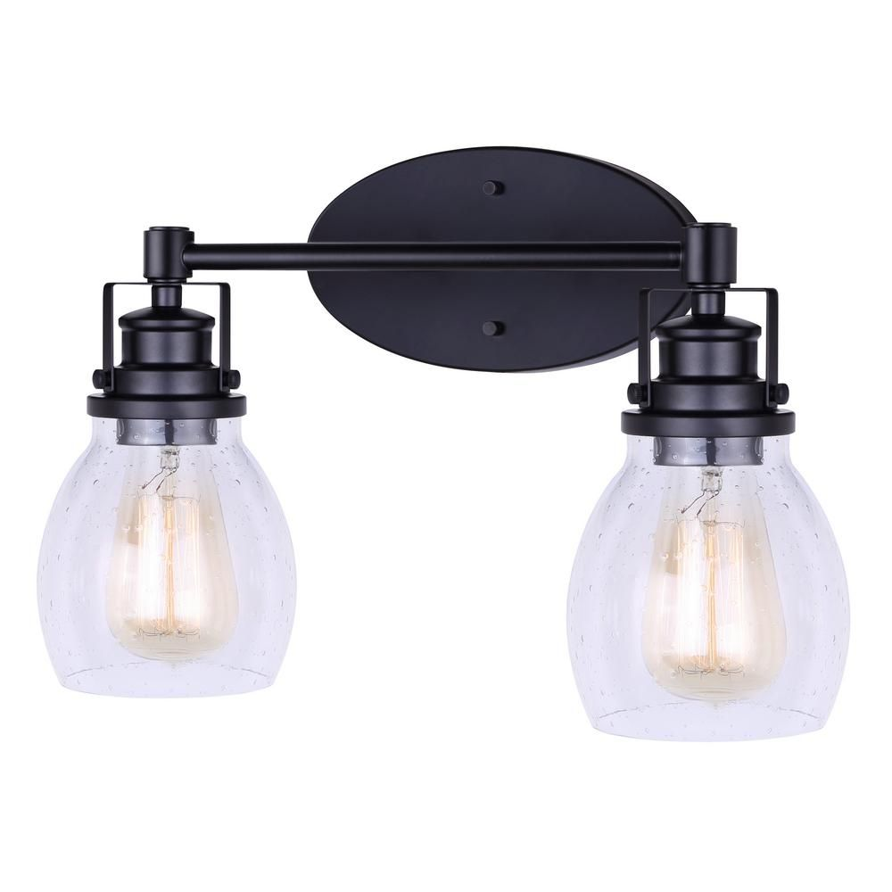 Canarm Carson 16 In 2 Light Matte Black Vanity Light With Seeded Glass Shade Ivl705a02bk Black Vanity Light Vanity Lighting Glass Shades