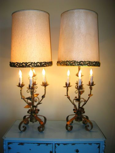 Wonderful Pair Of Vintage Gilt Spanish Style Table Lamps | Boho Oh