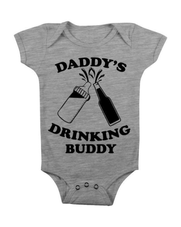 REBELN Daddys Drinking Buddy Cotton Short Sleeve T Shirts for Baby Toddler Infant