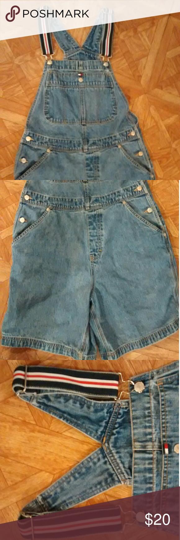 "Vintage Tommy Hilfiger denim shorts overalls Vintage denim shorts overalls. Clean. I'm great condition! Waist measures 33"" inseam 7.5"". Size medium. Tommy Hilfiger Jeans Overalls"