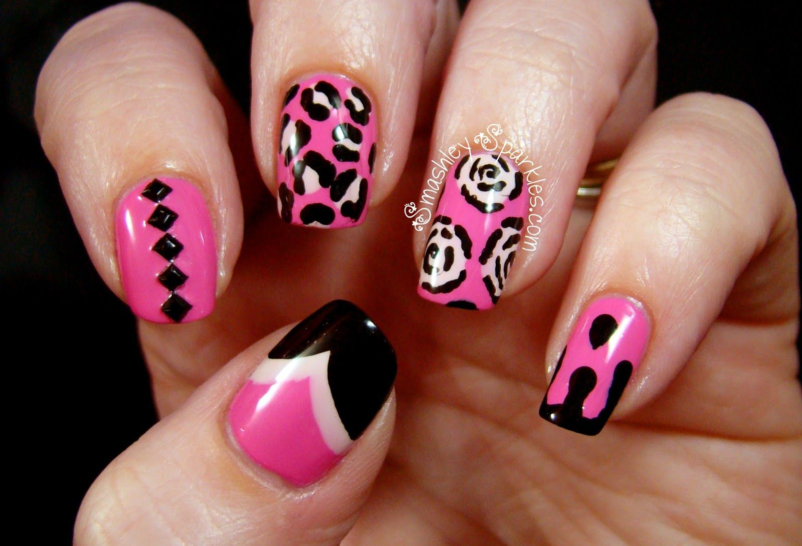 Cute Easy Nail Designs | Black and white nail art | Pinterest | Pink ...