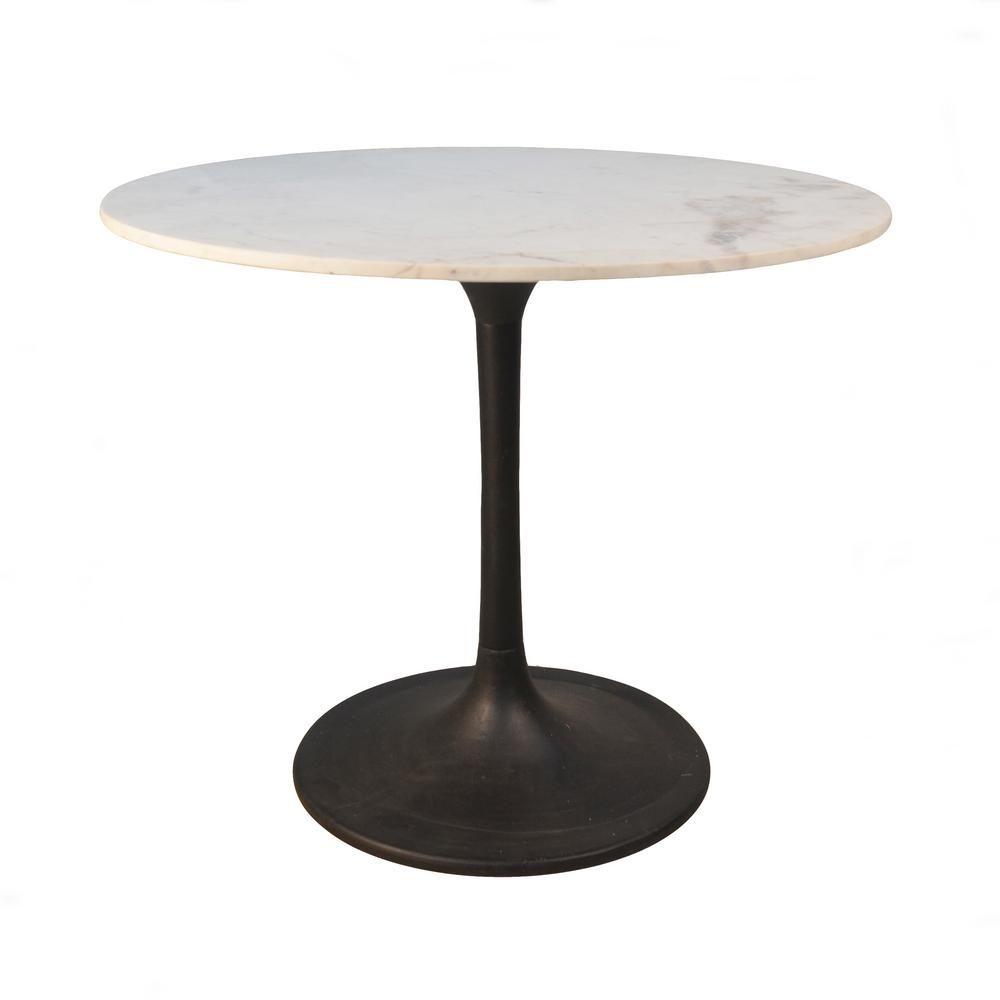 36 In Enzo Black Round Marble Top Dining Table Mt3636 Blk The Home Depot Marble Top Dining Table Marble Dining Round Marble Table
