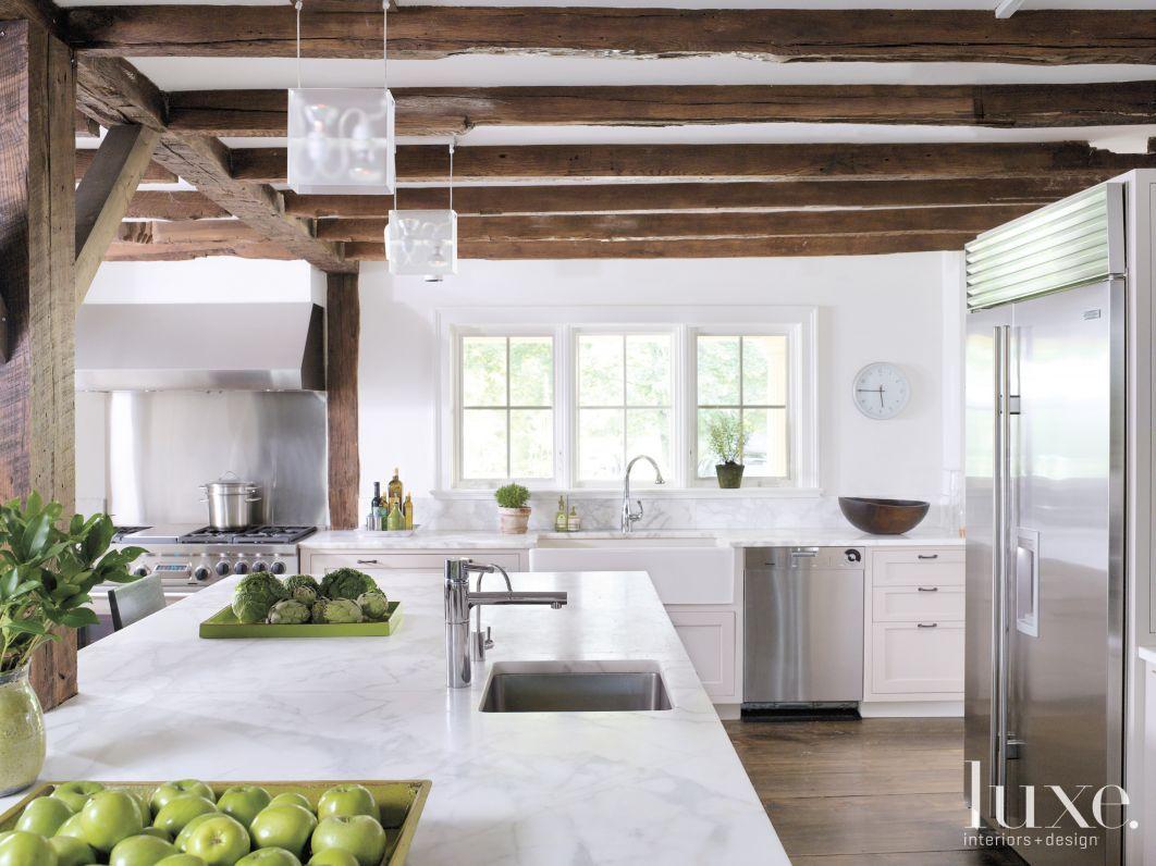 clean; white; love the beams   Carolina Get-A-Way   Pinterest   Beams