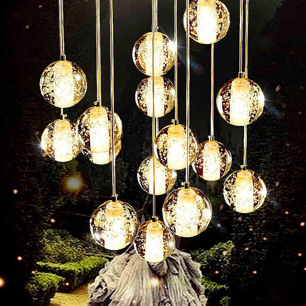Led Crystal Gl Ball Pendant Lamp Meteor Rain Meteoric Shower Stair Bar Droplight Chandelier Lighting Ac110 240v In Lights From