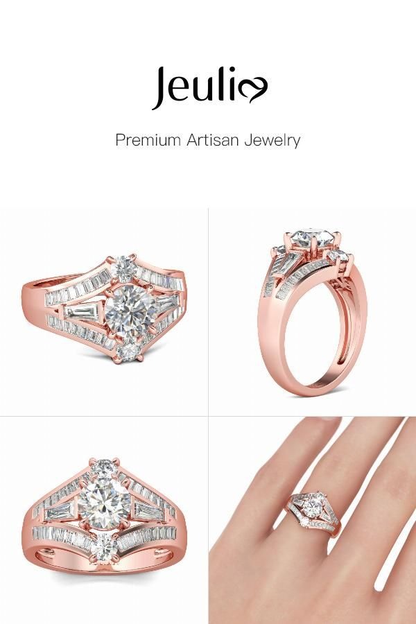 58e7830807cd4 Three Stone Rose Gold Tone Round Cut Sterling Silver Ring | My ...