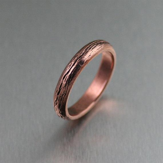 4mm Copper Bark Ring 7th Wedding Anniversary Gift Handmade