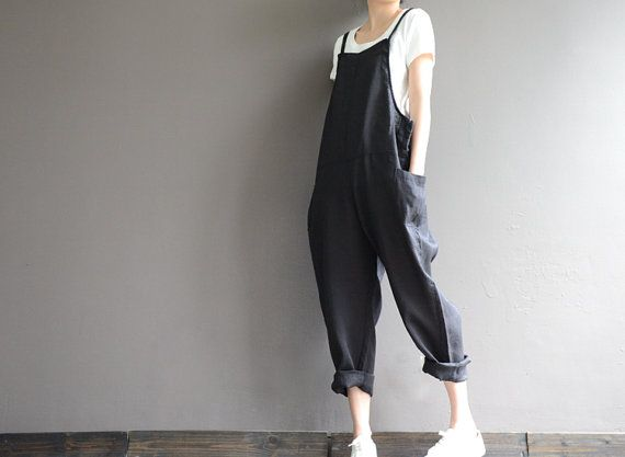 Loose natural ramie bib pants casual overalls pants by complus