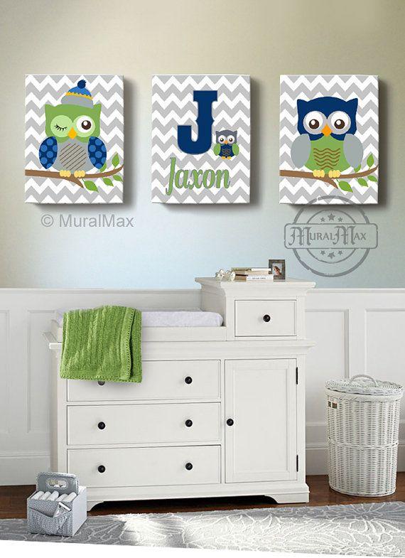 Boys Wall Art Baby Nursery Decor Owl Canvas Art Owl By Muralmax