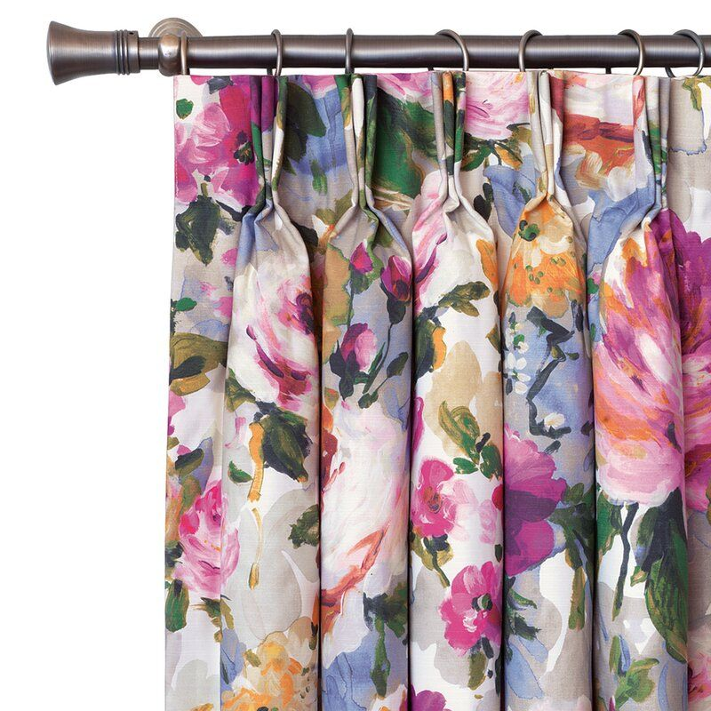Cora Floral Room Darkening Thermal Pinch Pleat Single Curtain Panel In 2020 Floral Curtains Floral Room Panel Curtains