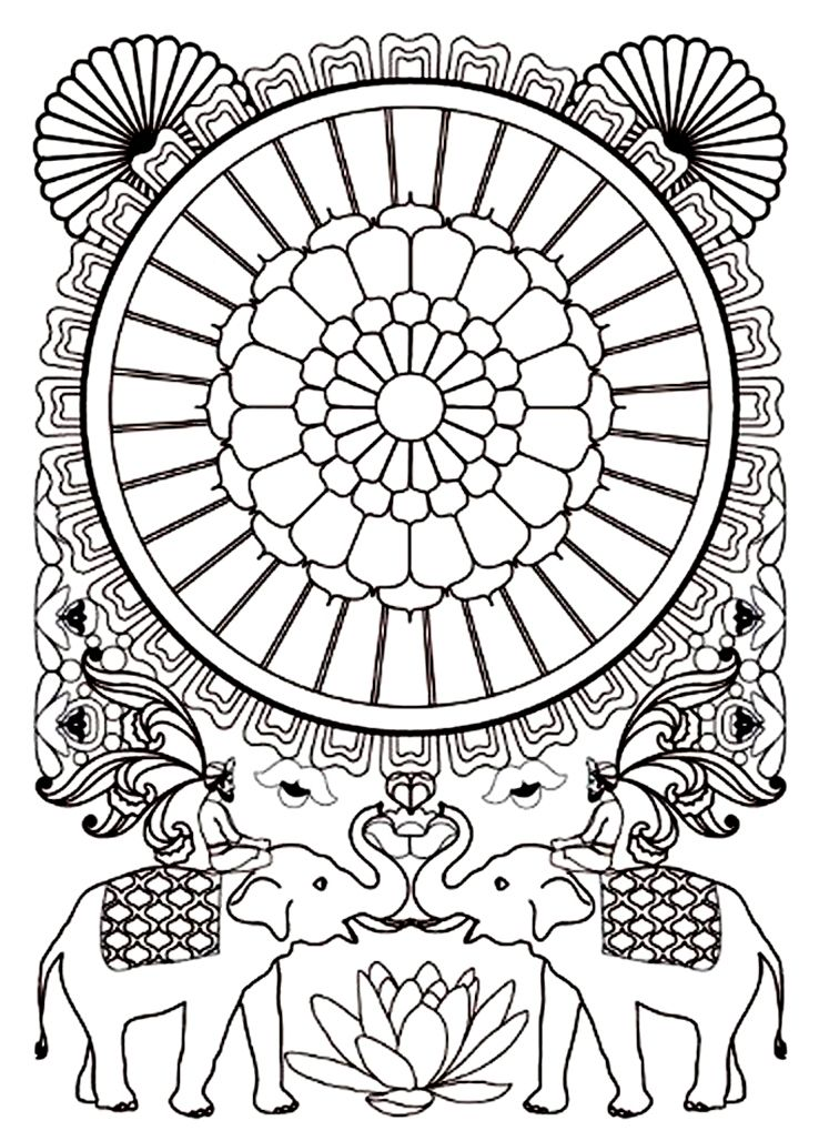 Coloriage adulte inde elephants 2017 pinterest coloriage adulte coloriage gratuit et inde - Colorier mandala ...