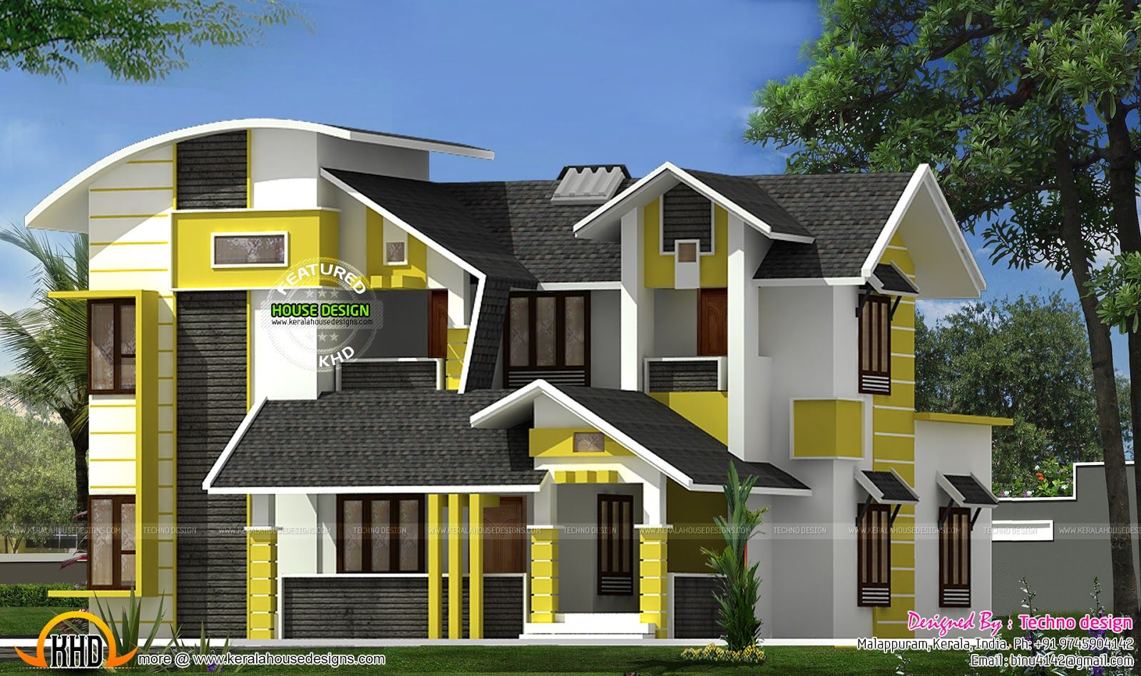 Charming Contemporary Home Designs At Malappuram Part - 3: 1980 Square Feet, 4 Bedroom Contemporary Mix Roof House Design Provided By  Techno Design, Malappuram, Kerala.