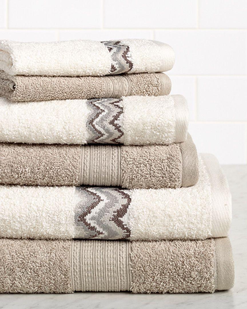 Rue La La Chevron 6pc Egyptian Cotton Towel Set Banyo Havlulari Tasarim Urunler