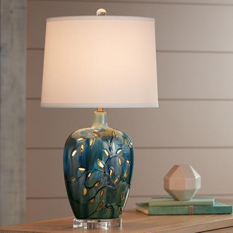 Devan vines blue ceramic table lamp with night light decor devan vines blue ceramic table lamp with night light 15g30 lamps plus aloadofball Choice Image