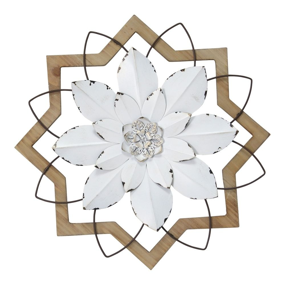 Stratton Home Decor Metal White Flower And Wood Frame 16 00 X